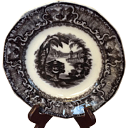Mulberry Washington Vase Black Transferware Plate