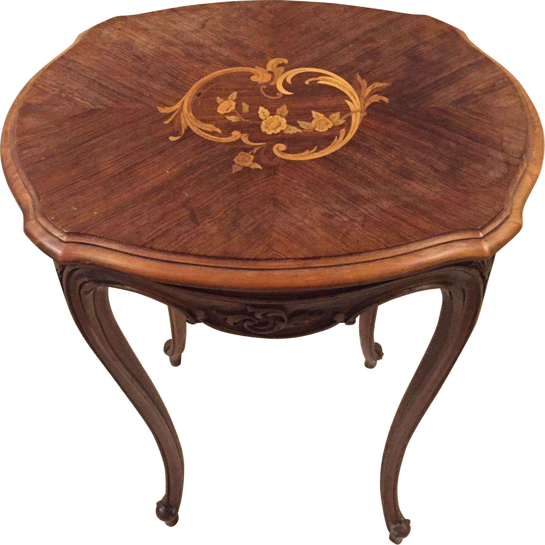 Stunning louis xv style inlaid marquetry table from chappy on ruby lane - Table louis xv ...
