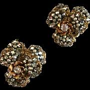 Rare Pair Miriam Haskell Flower Petal Bridal Pins