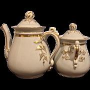 Rare signed H&C 1860 Ivy Wedding Coffee Pot Sugar Bowl