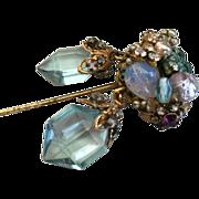 Horseshoe signed Miriam Haskell Brilliant Blue Cut Glass Dangle Stick Pin
