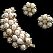 Vintage signed ART - Arthur Pepper Faux Pearl Cluster Brooch w/ Matching Earrings