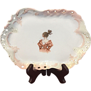 Antique Bavaria Porcelain Lady Dresser Tray ZS&Co
