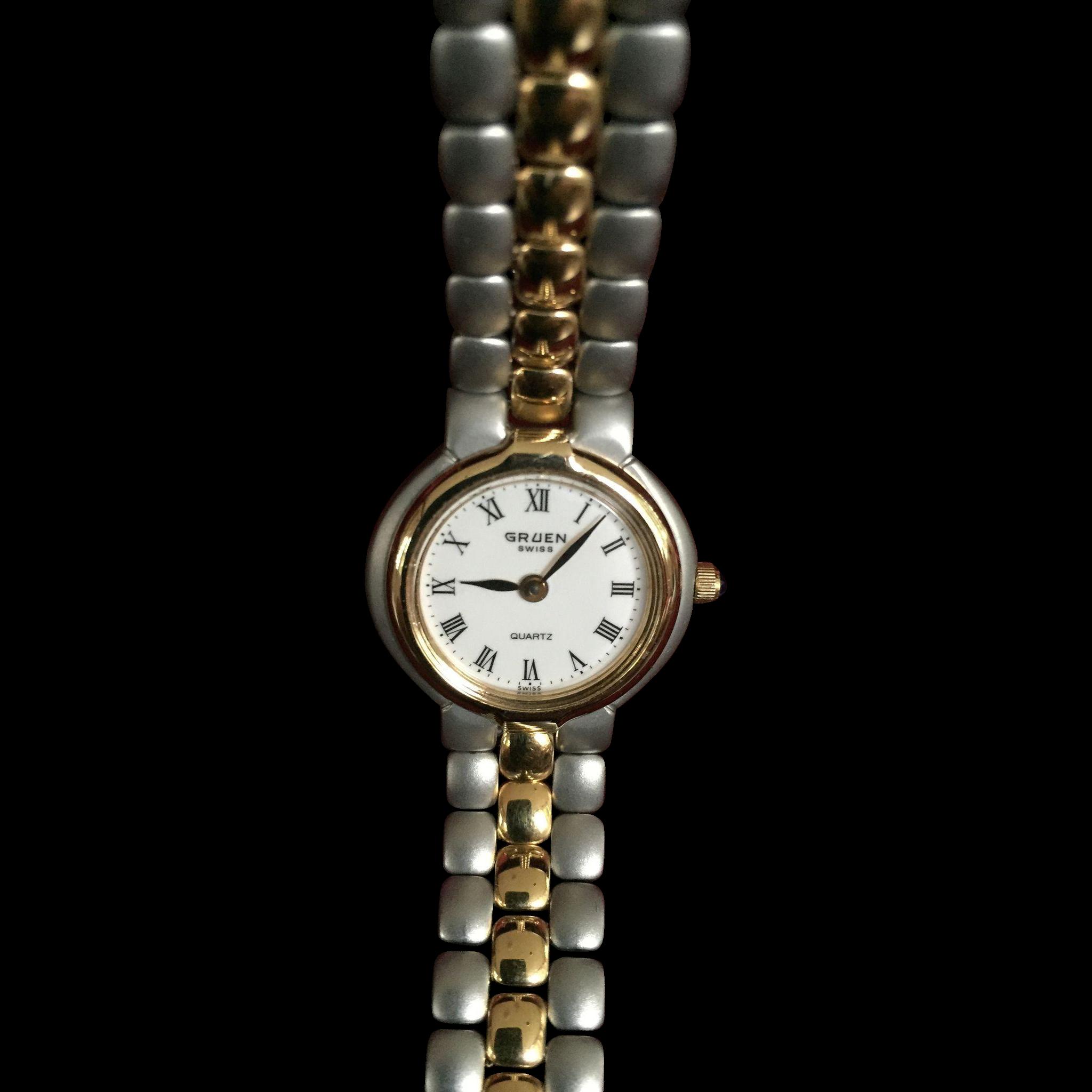 vintage gruen swiss ladies two tone watch never worn from. Black Bedroom Furniture Sets. Home Design Ideas
