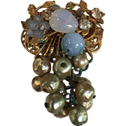 Signed Miriam Haskell Filigree Dangle Pin with Blue Moon-glow Beads, Baroque Pearls, Rhinestones