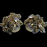 Miriam Haskell Baroque Pearl Flower Seeded Rhinestone French Clip Earrings