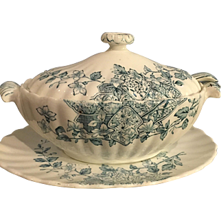 Stafford Vegetable Tureen Set Underplate Ladle Teal Transferware Wildflowers