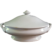 Antique TR Boote 1890 White Ironstone Casserole Dish with Lid Senate Shape