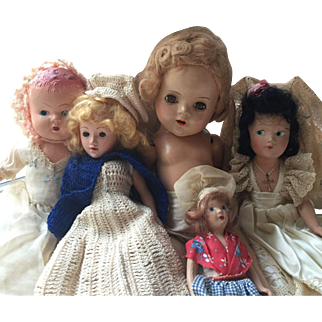 Group of 5 Vintage Composition Dolls- Effanbee, Alexander, German