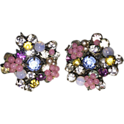 Miriam Haskell Multi Color Rhinestone Glass Bead Floral Earrings