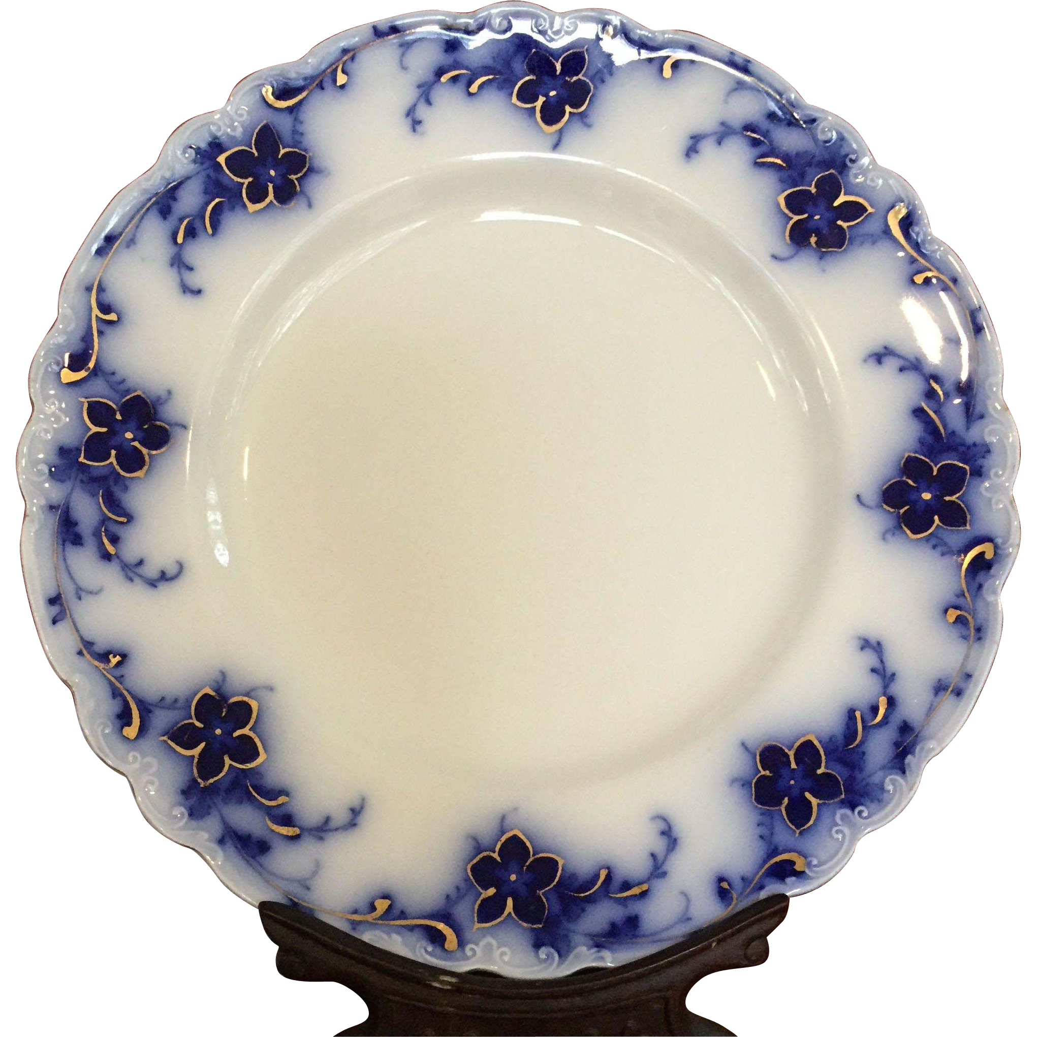 Set of flow blue gold alfred meakin oakley dinner plates