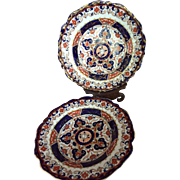 Pair of Mason's Patent Ironstone China Imari Plates c. 1813 Makers Mark