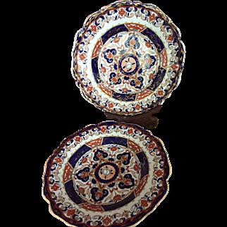 Pair of Mason's Patent Ironstone China Imari Plates c. 1813 Makers Mark
