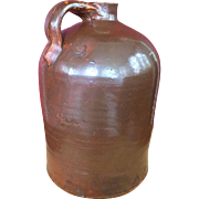RARE 19 C. Redware Glazed Moonshine 2 Gallon Marked Jug w/ Corn Cob Stoppers & Drip Mark Accents