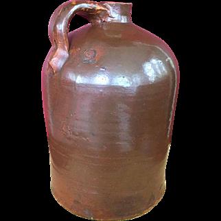 RARE 19 C. Redware Glazed Moonshine 2 Gallon Marked Jug w/ Corn Cob Stoppers & Drip Mark Accents