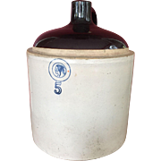 1900 c. Louisville Pottery Cherokee Line Indian Head 5 Gallon Stoneware Whiskey Jug