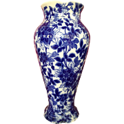 Flow Blue Porcelain Free Form Transferware Chinese Vase