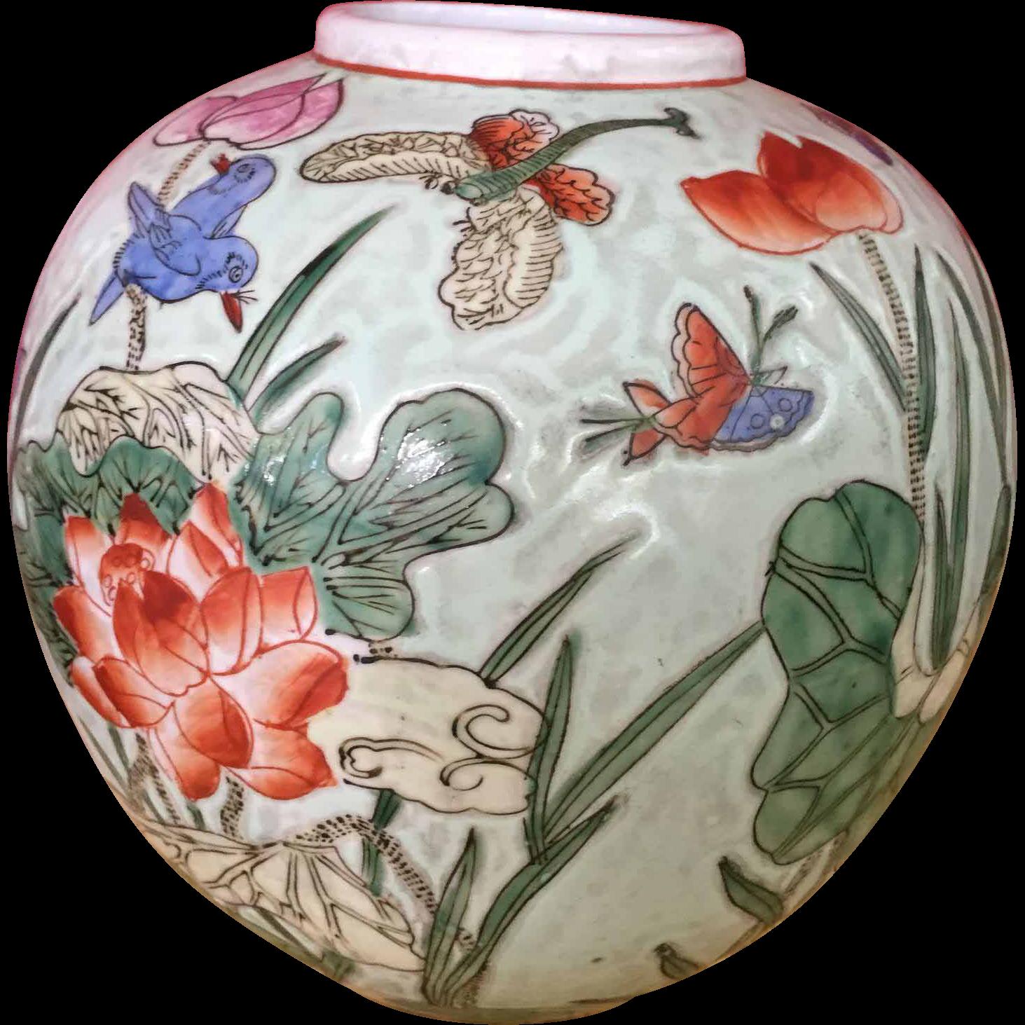 Chinese Ginger Jars Vintage Porcelain Chinese Ginger Jar Vase Macau Pottery