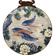 Signed Vintage Hand Painted Toyo Koi Plate With Lotus Flowers and Pine