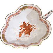 Signed Herend Hand-painted Chinese Bouquet Deep Rust Leaf Dish c.1948 Excellent Condition