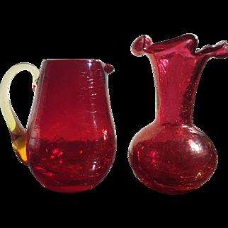 Vintage Pilgrim Cranberry Crackle Glass Ruffled Vase & Pitcher Amber Handle Rough Pontil