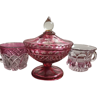 Set of Cranberry Cut to Clear Glass Candy Dish With Lid & Cups