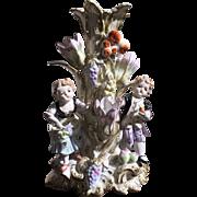 Vintage Lenwile Ardalt Porcelain Hand-painted Decorative Large Figurine Boy and Girl Gathering Fruit