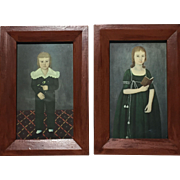 Pair Vintage Folk Art John Brewster Jr. Offset Lithograph of Boy & Girl