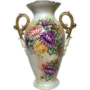 Luminous Antique Limoges Tall Signed Petal Scroll Handled Vase c. 1915