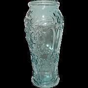 Rare Tall Green Art Glass Vase Molded Hand Blown Floral Venetian Design