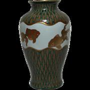 Japanese Red Seal Signed Cloisonne Enamel Hand Painted Koi Vase Fishnet Pattern