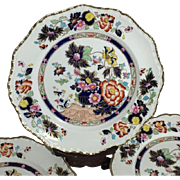 C. 1900 Rare Set of 6 Masons Patent Ironstone Mandarin Painted Plates Gilt Accent