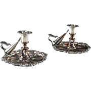 Pair Antique C1890 James Dixon & Sons Old Sheffield Silver Plate on Copper Chambersticks w/Snuffer, Nozzle