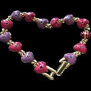 Joan Rivers Classic Heart & 1 Lucky Ladybug Enameled Gold Tone Bracelet Never Worn