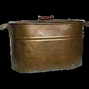 Primitive Revere Copper Boiler Wash Tub Basin Red Handles and Lid