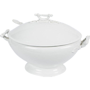 Antique John Maddock & Sons Royal Semi Porcelain Soup Tureen with Ladle 1900's White Ribbon England