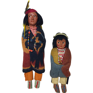 Vintage Pair Skookum Dolls Original Marked Bully Good Native American Looking Left