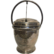 Vintage Ice Bucket Silver on Copper Hinged Lid 1940's