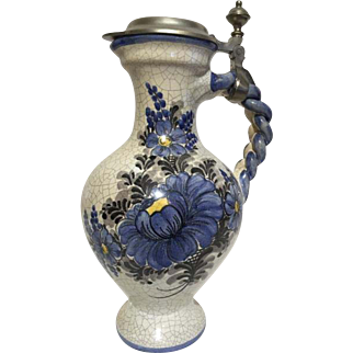 German Vintage Painted Crackle Tankard Pitcher w/ Pewter Rein Zinn Lid Braided Handle Pottery