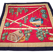 Hermes Les Raisins de la Mer Silk Scarf P. Peron Nautical