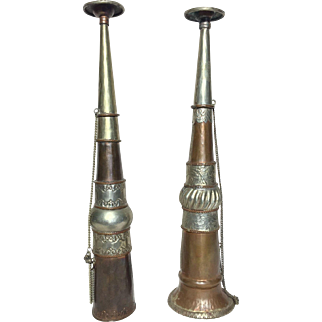 Pair Rare Tibetan Copper Silver Buddhist Prayer Trumpet Horns