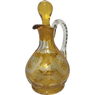 Czech Amber Egermann Etched Glass Cruet Stag Castle Faceted Handle and Stopper