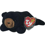 Rarest  Blackie Bear Beanie Baby PVC Pellets Multiple Errors* Style 4011 Mint