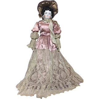 "Rare 21"" Circa 1860's German China Head Doll Cloth Body Gorgeous Satin Lace Dress Bonnet"