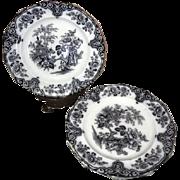 "Set of 4 Bochara James Edwards Mulberry Transferware 9"" Plates"