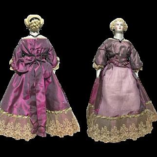 """Antique Princess Dagmar Parian 14"""" Pierced Ear Cameo Necklace All Original Doll 1860's"""