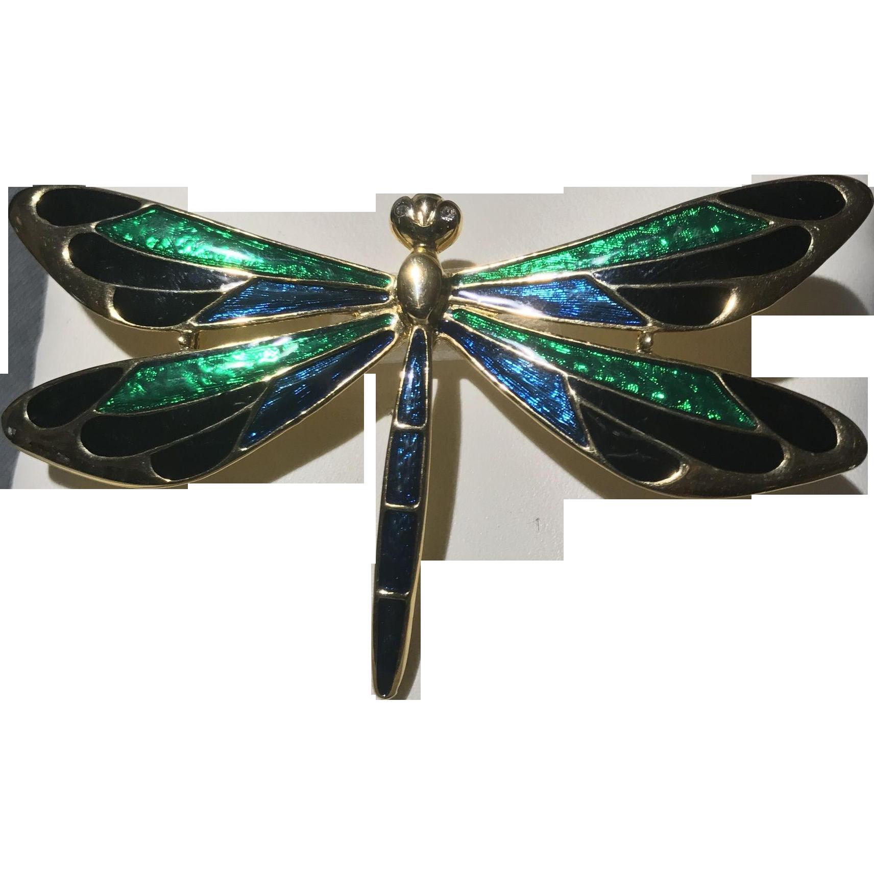 "Vintage Dragonfly Brooch/Pin Goldtone Enamel Green, Blue, Black 3"" Wide"