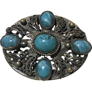 Vintage Bohemian Faux Turquoise Glass Stone Filigree Brooch