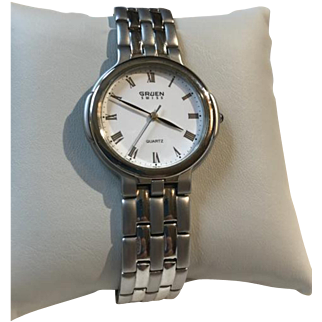 Vintage Gruen SWISS Men's Two Tone Stainless Steel Quartz Watch Brushed and Polished Silver Tone Never Worn