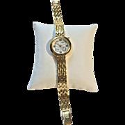 Unique Retro Gruen Swiss Ladies Quartz Watch Seconds Sub Dial and Date Goldtone 5 Micron 18K GP Link Bracelet